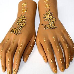 Details Zu Hand Sticker Henna Doppel Handschmuck Bollywood Selbstklebend Tattoo Gold