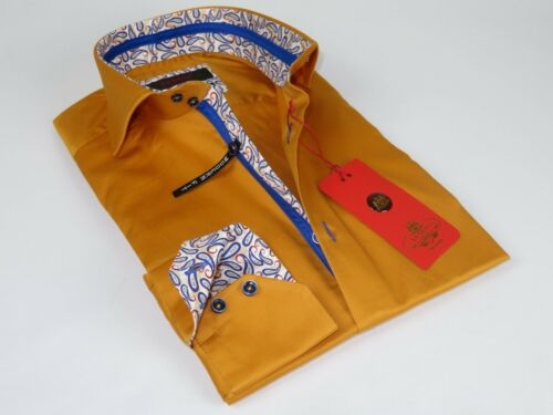 Men Axxess Egyptian Cotton wrinkle resistant Shirt High Collar 319-10 Mustard