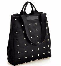 Womens Rivet Large Capacity Canvas Shoulder Bag Handbags Purse Organizer New