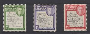 Falkland-Islands-Dependencies-KGVI-1948-MLH-collection-of-three-stamps