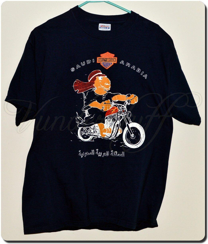 Harley Davidson Kingdom of Saudi Arabia T-Shirt, Camel Motorcycle Rider, Rare, L