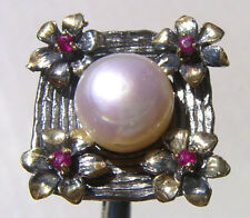 CeS Ring mit Perle und rotem Spinell / red spinel