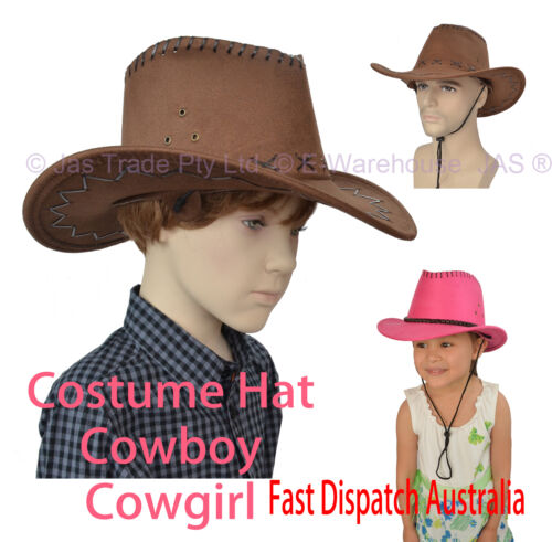 Toddler KID or Adult Costume Party Dance Cowboy Cowgirl Hat PU Faux Leather