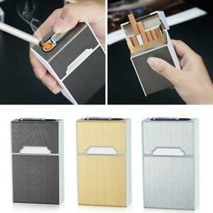BIN-20-sticks-Automatic-Cigarette-Case-With-Inbuilt-Windproof-Lighter-Box-New