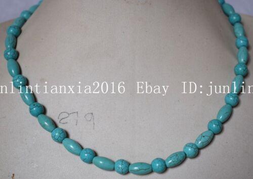 """Nouveau 6x12/&8mm Bleu Turquoise Turquie riz Round Bead Gems collier 18/"""""""