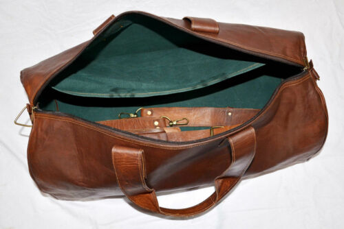 "Men/'s genuine Leather 24/"" large vintage duffle travel gym weekend overnight bag"