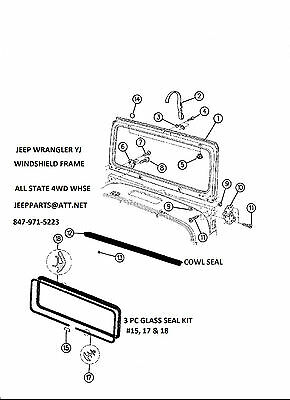 1987-1995 Jeep Wrangler YJ Front Windshield Glass with Weatherstrip Gasket Kit