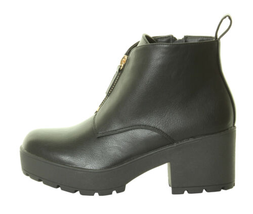 Mesdames Womens High Chunky Platform Bloc Talon Bottines zips Black goth shoes boots