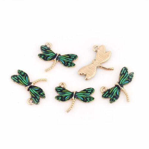 5 Or 10PCs Green Dragonfly 22mm Wholesale Gold Plated Enamel Charms C1916-2