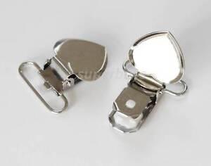 5 20 50 Lead Free Heart Shaped Suspender Bib Pacifier Dummy Clip Buckle Teething