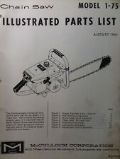 Mcculloch Chain Saw 1 75 Parts Catalog Manual 2 Cycle Gasoline Chainsaw 1961