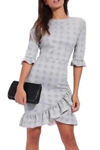 Womens-Ladies-Check-Tartan-Curved-Hem-Frill-Bodycon-Dress-Ruffle-Tea-3-4-Sleeve