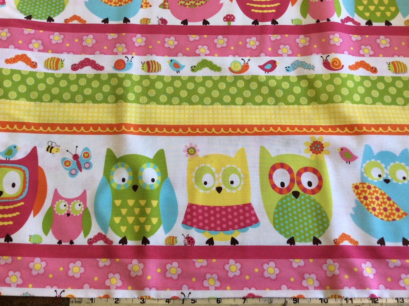 NORTHCOTT STUDIO-WHOOO LOVES YOU #6932-21 BORDER STRIPE-BY THE YARD