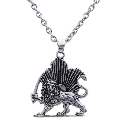 Persian Lion Sun Shir Khorshid Pahlavi Kingdom Necklace Chain Reza Shah Persia
