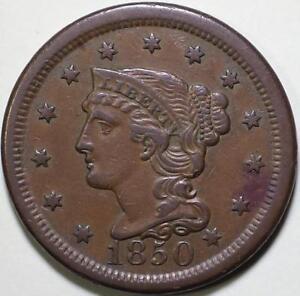 1850  Braided Hair Large Cent, N-22 R4  Die State C - ** VF++ ** Very Rare