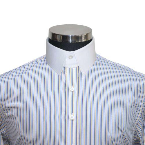 Details about  /James Bond Mens shirts Tab collar Blue Yellow stripes 100/% cotton Loop collar