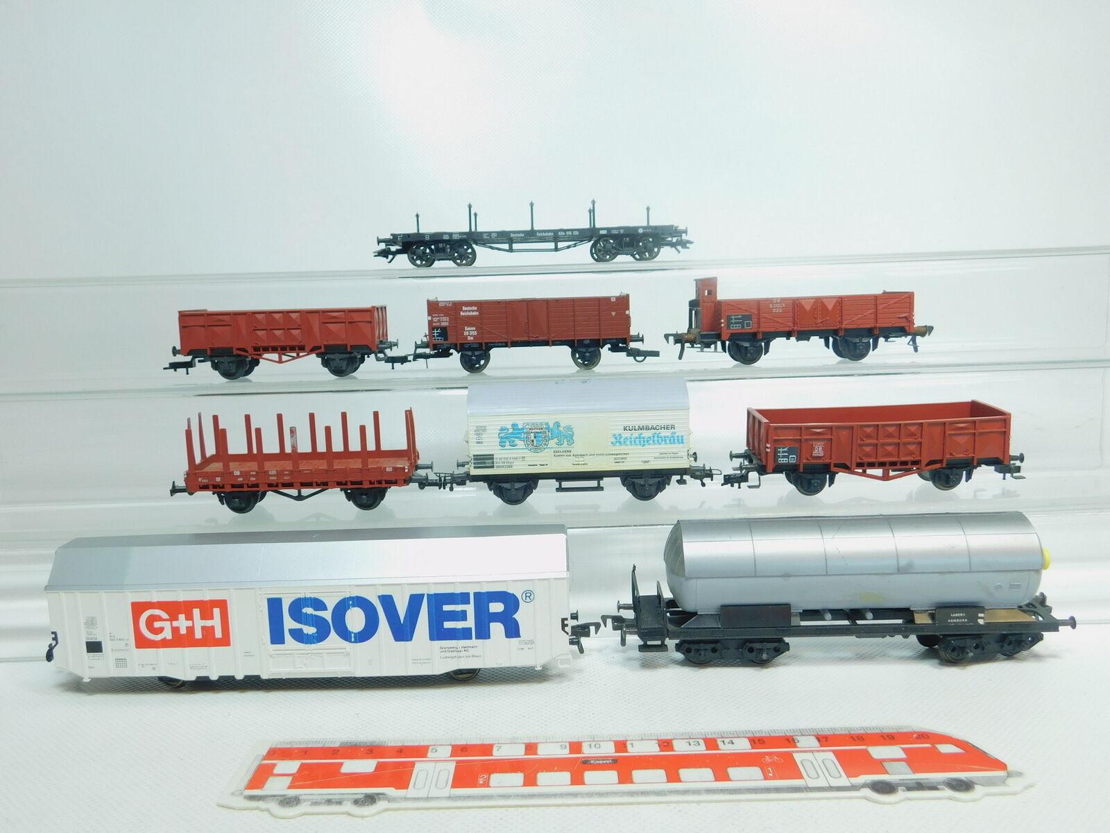 Bm144-2  9x Fleischmann h0/dc CARRO MERCI DRG + DB: G + H ISOVER + reichelbräu etc