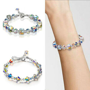Fashion-Elegant-Crystal-Bracelet-Glitter-Shine-Colorful-White-Adjustable-7-034-9-034