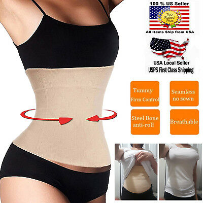 UK Postpartum Support Recovery Belly Band Waist Trainer Cincher Wrap Shapewear