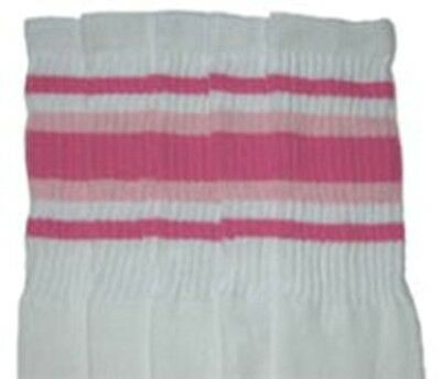 "22"" KNEE HIGH WHITE tube socks with BUBBLEGUM PINK/BABY PINK stripes st4 (22-45)"