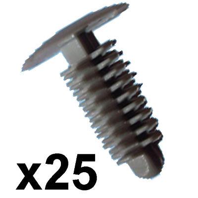 100x plastique voiture trim clips-fit 6-7mm trou 24mm head