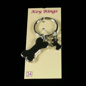 KEYRING-Scottie-amp-Bone-KEYCHAIN-Scottish-Terrier-Charms-Scotty