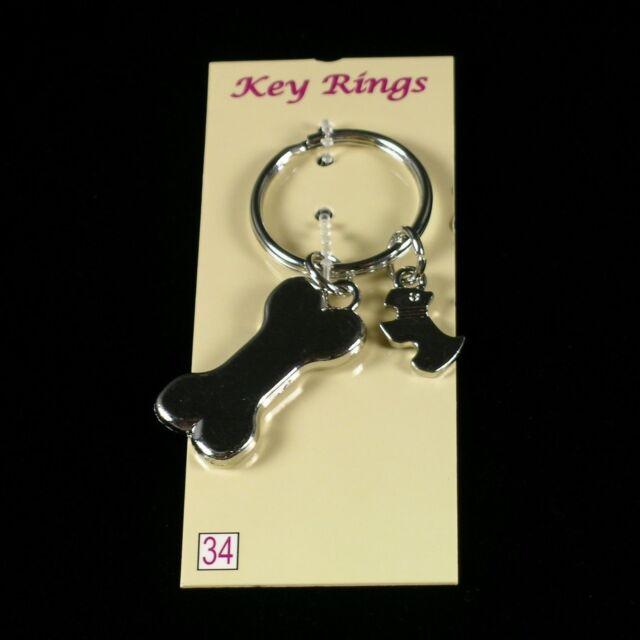 KEYRING Scottie & Bone  KEYCHAIN Scottish Terrier Charms Scotty