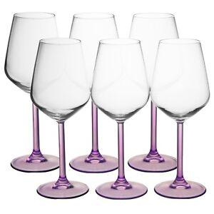 90f4ce7c8bf Large Wine Glasses Set of 6 Purple Coloured Stem for Red and White ...