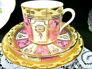 ANTIQUE-early-English-tea-cup-and-saucer-trio-pink-gold-gilt-teacup-1850-039-s