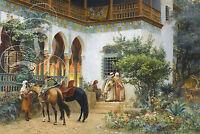 Repro Deco Toile Peinture Cour Nord Africaine Chevaux Sur Papier 310 Ou 190 Grs