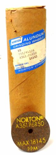 ROLL OF 25 2 X 1//4 X 1//4 NORTON A361-P6R50 GRINDING WHEELS MAX RPM 18145