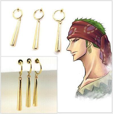 Anime One Piece Roronoa Zoro Ear Clip Earrings Metal Pendant Collection Gifts