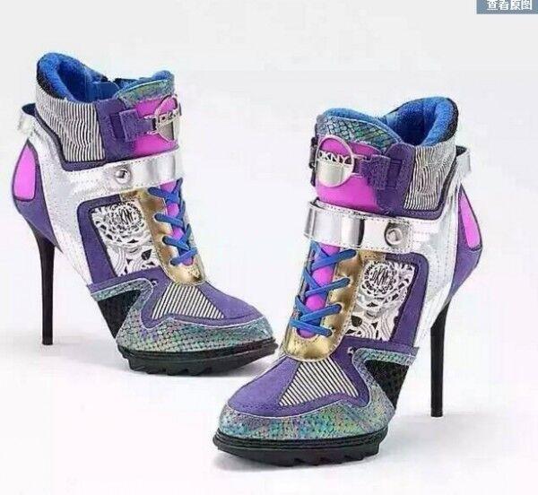 Elegante Para mujeres tenis Tacones Altos colorido  Stilletto MultiColor zapatos  colorido De Salón Talla 70f8aa