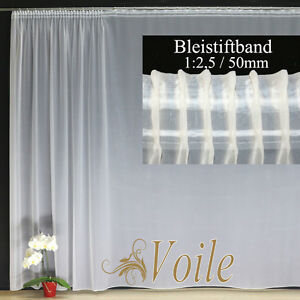 Hochwertige Fertiggardine VOILE Store Weiß Faltenband