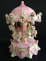 Pink Carousel Merry Go Around Music Box With Color Light