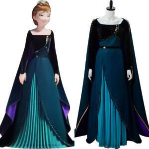 Espressamente Groenlandia Ossidare  Frozen 2 Queen Anna Dress Dark Green Gown Outfit Cosplay Costume   eBay