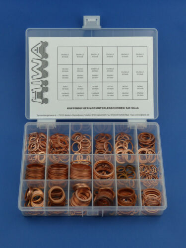 540tlg Kupferringe Sortiment Dichtringe Kupfer-Dichtungssatz Ölablass Set