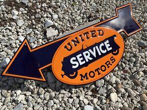 VINTAGE-UNITED-MOTORS-SERVICE-EMBOSSED-METAL-PORCELAIN-SIGN-AUTO-GAS-SERVICE-OIL