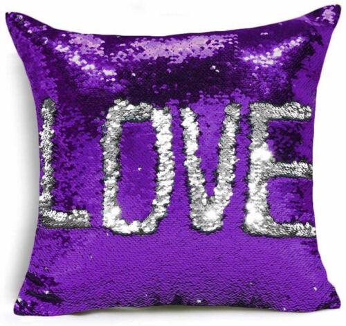 Silver Luxury Pillow Case Sequins Velvet /& Silver Sparkle Cushion Cover Purple