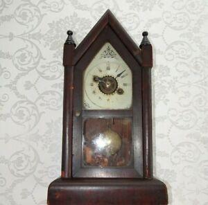 Antique-19th-Century-Victorian-Oak-Mantel-Alarm-Clock-with-Key-Pendulum-amp-Finial