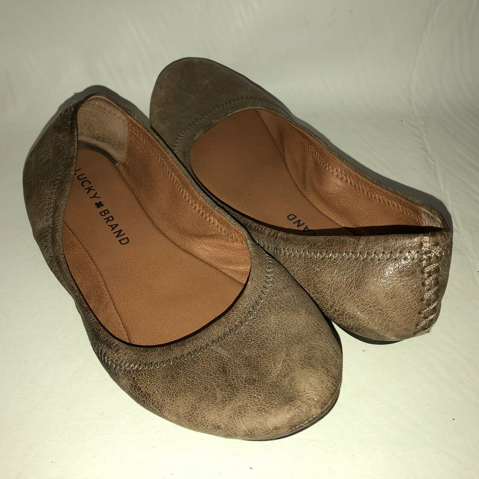 Lucky Brand Emmie Women's 6.5M Brown Taupe Leather Slip On Ballet Flats