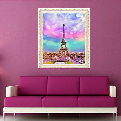 DIY 5D Diamond Embroidery Rainbow Sky Eiffel Painting Cross Stitch Home Decor