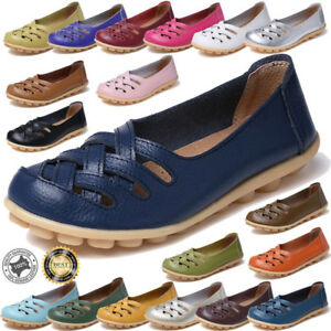 Womens-Leather-Casual-Oxfords-Flats-Ballet-Loafers-Boat-Slip-On-Breathable-Shoes