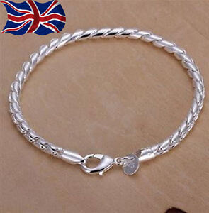 925 Sterling Silver Bracelet Twisted Spiral Chain Link 8 Ladies