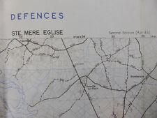US ARMY DEFENCES MAP NORMANDIE Landungskarte STE. MERE EGLISE 1944 Landkarte