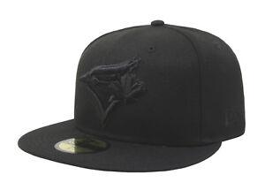 New-Era-59Fifty-Hat-Mens-MLB-Toronto-Blue-Jays-Black-On-Black-Alt-Bird-5950-Cap