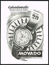 1940's Vintage 1948 Movado Calendomatic Calendar Watch Mid Century Art Print AD