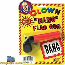 BANG FLAG GUN CLOWN TOY FANCY DRESS JOKE PROP CIRCUS JOKER MAGIC TRICK