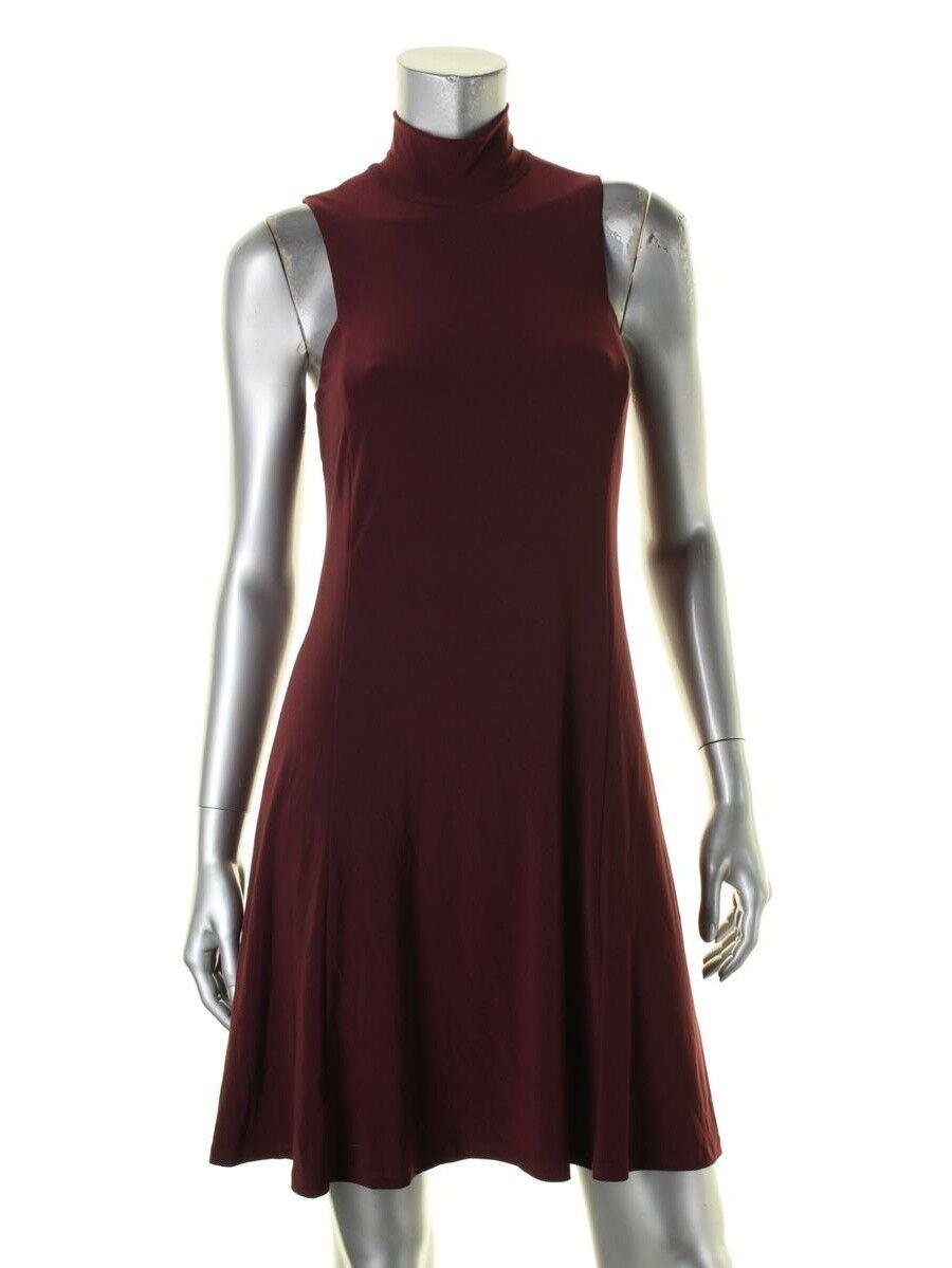 Ralph Lauren Claret Mock Neck  Stretch Jersey Swing Shift  Dress, 10R -