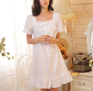 Retro-Womens-Pajama-Square-Neck-Short-Dress-Cotton-Lolita-Sleepwear-Nightgown